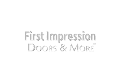 first impression doors and more logo in grey