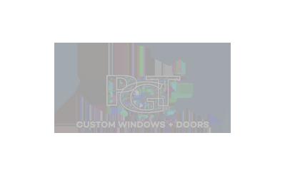 logo for PGT custom windows and doors in grey