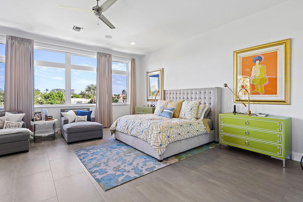 impact resistant picture windows in a South Florida bedroom