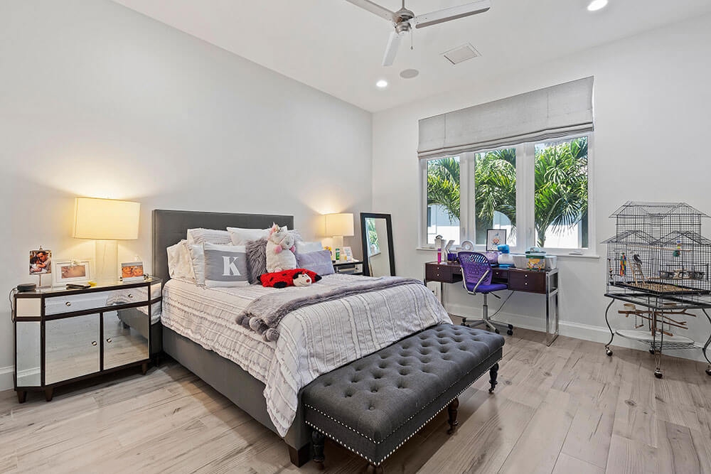 impact casement windows in a South Florida bedroom