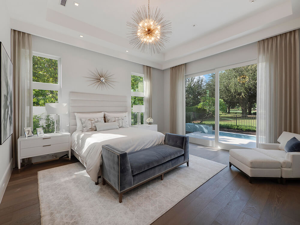 hurricane rated sliding glass doors in a South Florida bedroom
