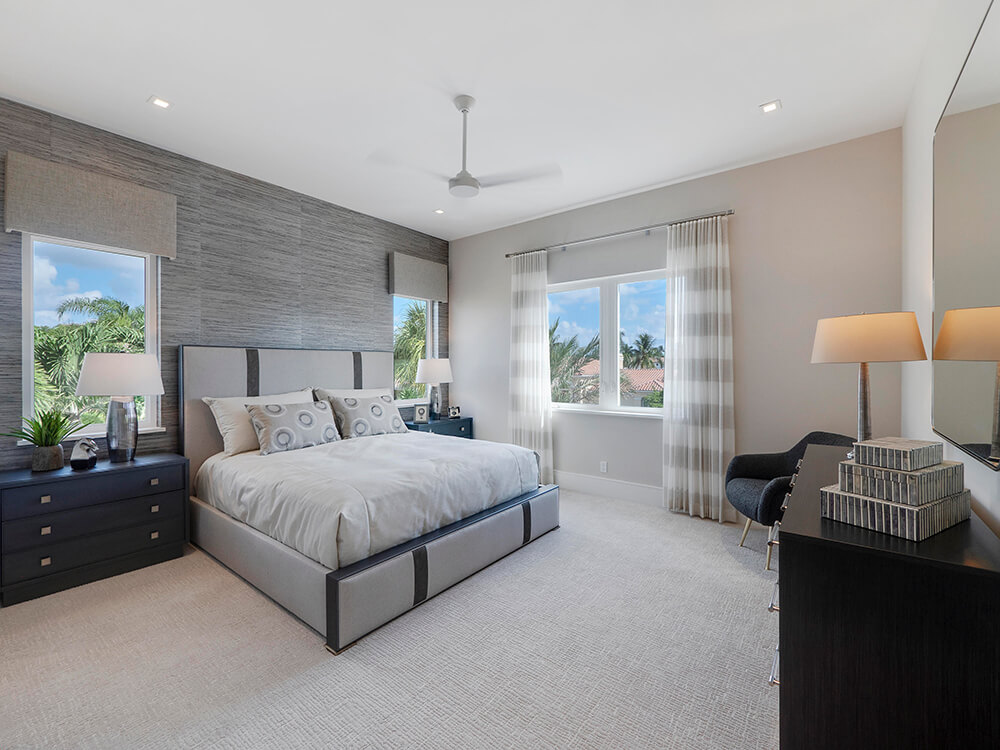 hurricane rated windows in a South Florida bedroom