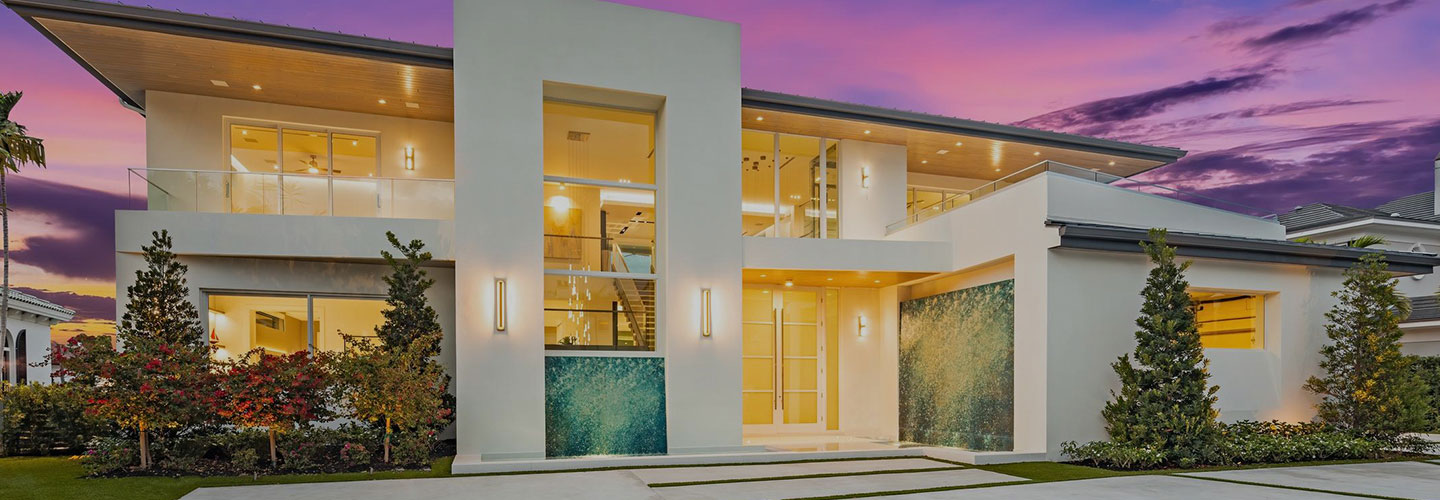 front exterior of a well architected modern South Florida home