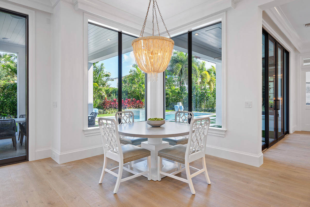 impact windows in a South Florida breakfast nook