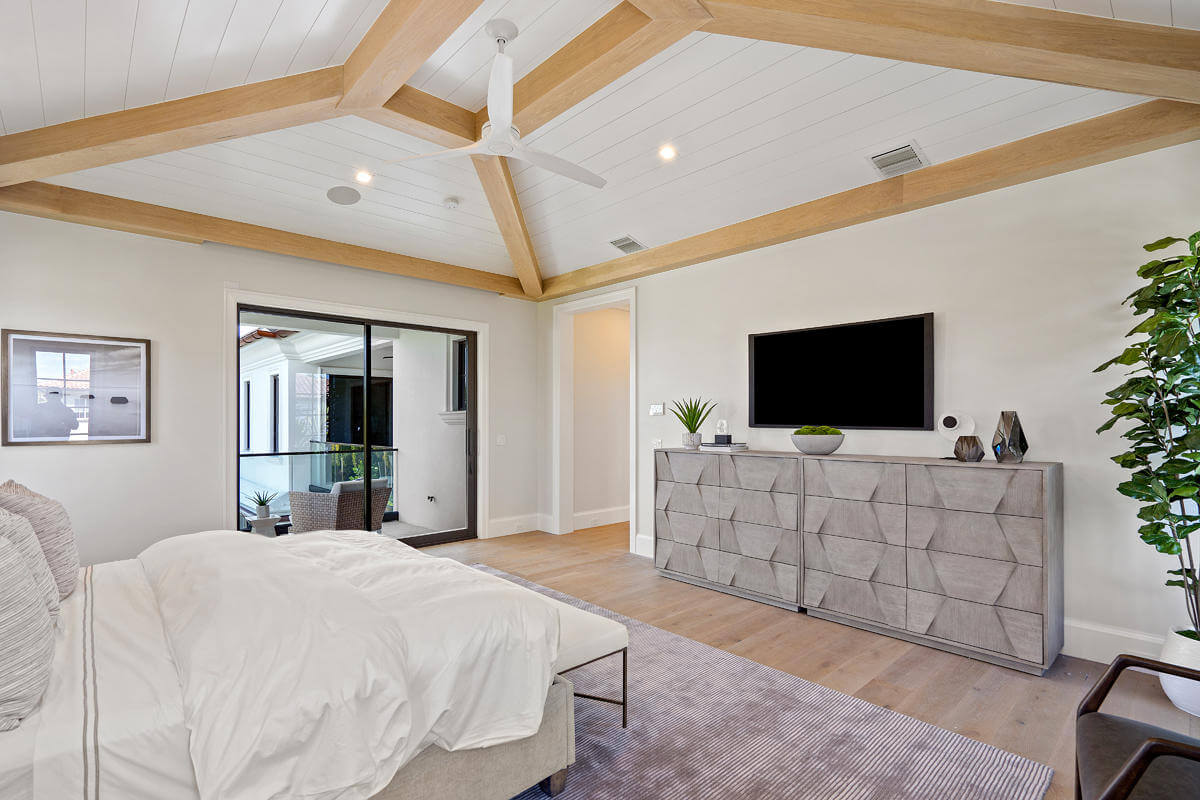 custom sliding glass door in bedroom