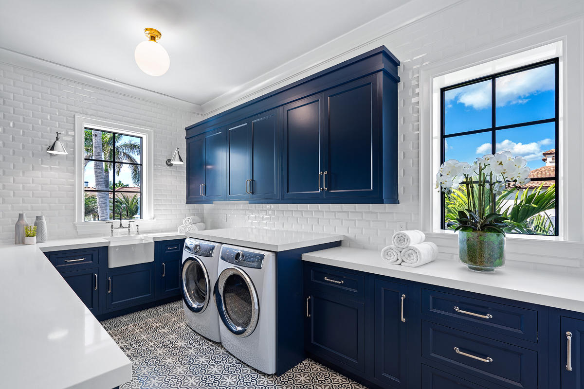 impact glass windows in a laundry room