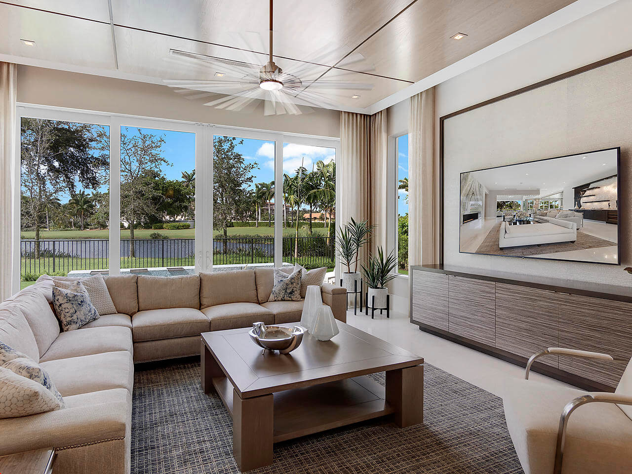 impact sliding glass doors in a South Florida entertainment room