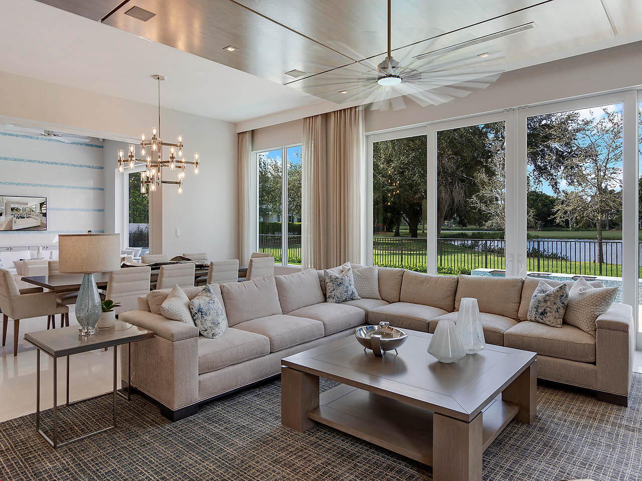 oversized sliding glass doors in a South Florida living room