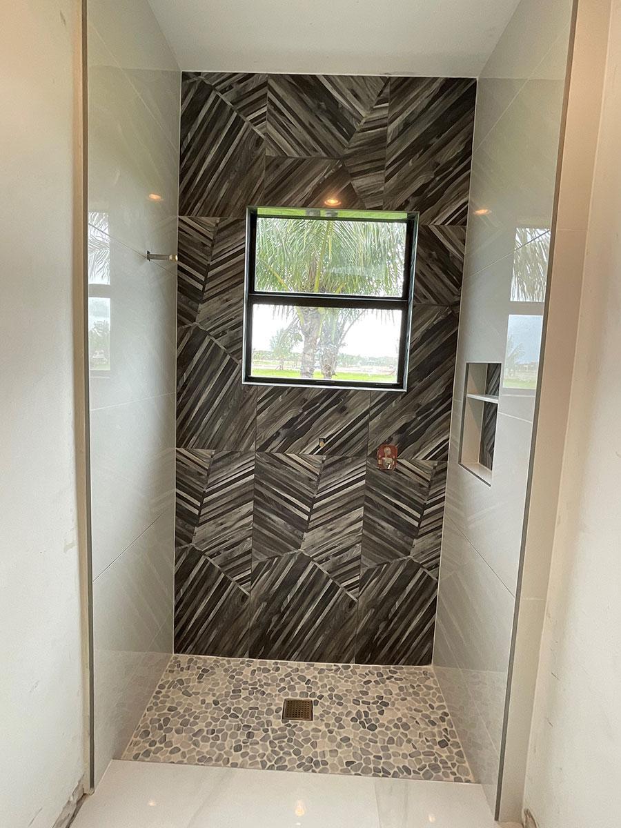 single hung window in shower
